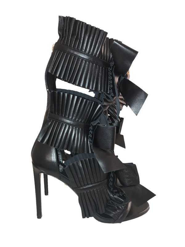 Ruffle Leather Bootie