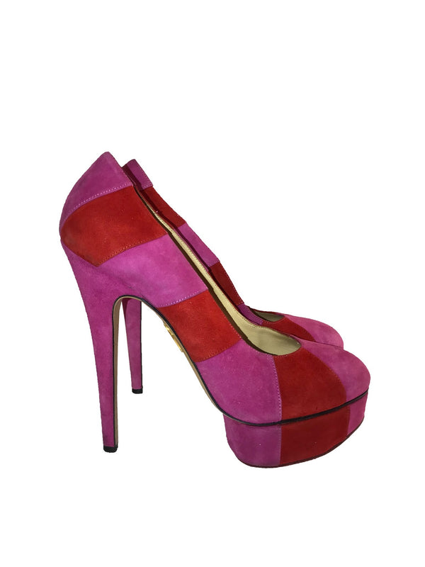 Pink & Red Striped Platform Heel