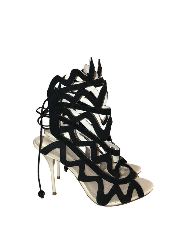 Mesh & Leather Laser Cut-Out Sandals