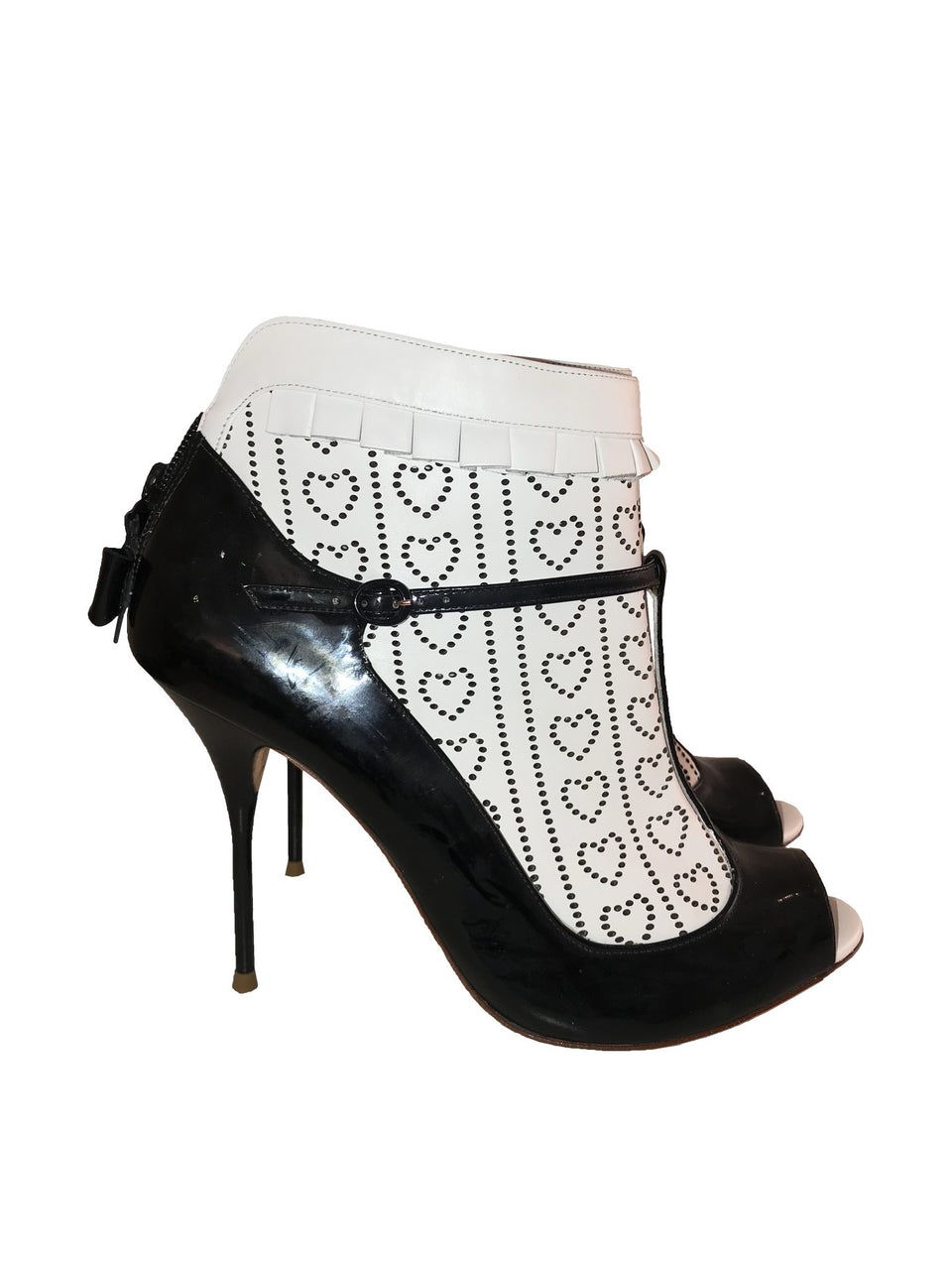 Black & White Open Toe Heart Bootie