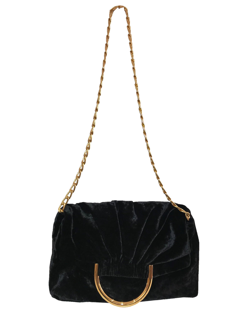 Stella McCartney Grey Velvet Bag w/ Gold Chain