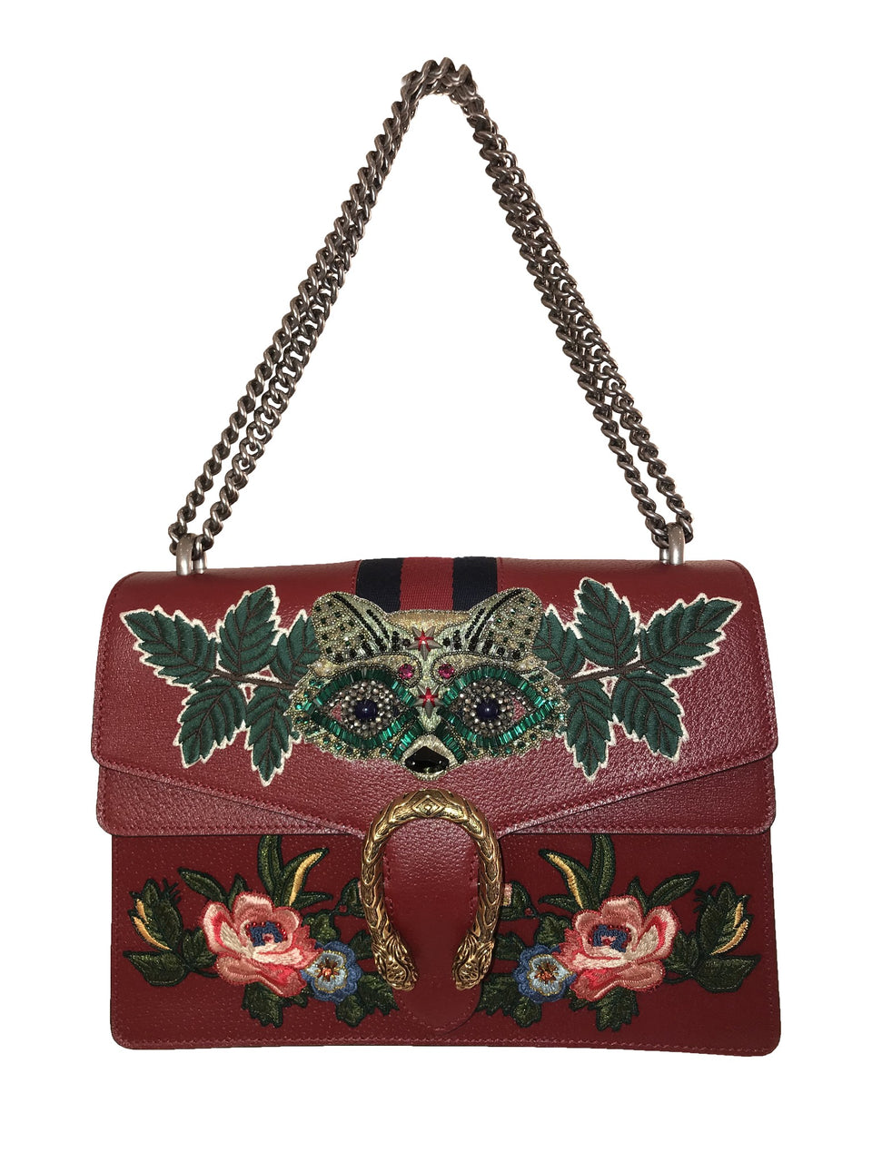 Dionysus Raccoon-Embroidered Shoulder Bag