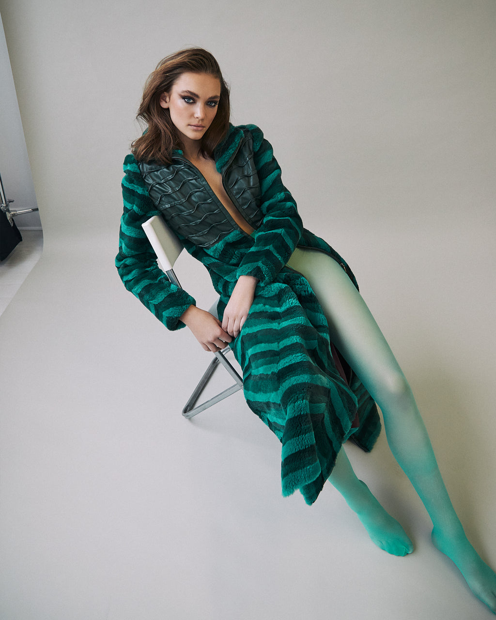 Green Striped Beaver Fur Coat w/ Green Leather