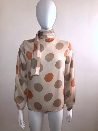 Polka Dot Blouse w/ Neck Tie