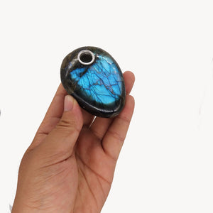 Oval Labradorite Stone Pipe - SmokeStash