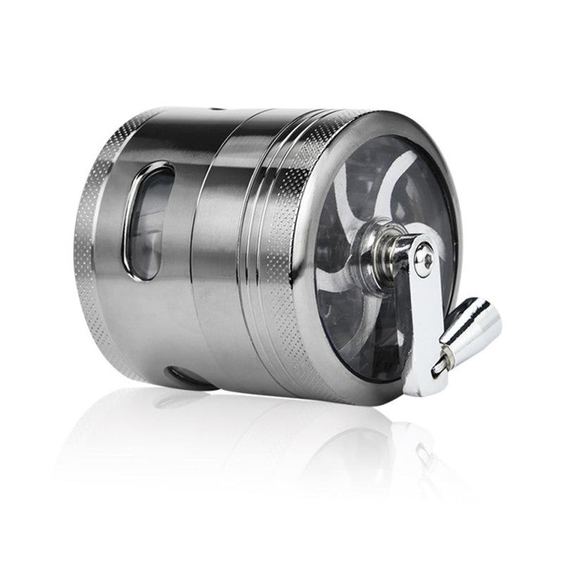 SmokeStash Silver 4-Part Hand Crank Herb Grinder - SmokeStash