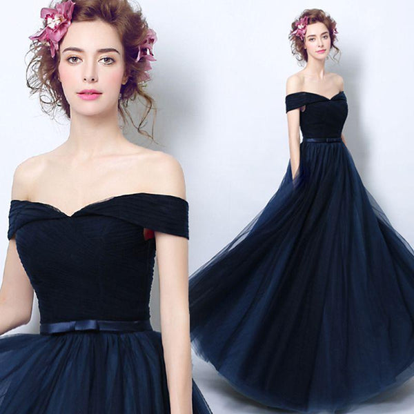 Navy Blue Evening Dresses with Bow Off the Shoulder Party Women Prom Gown