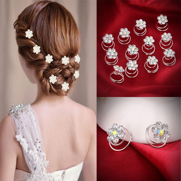 12Pc Hair Decor Crystal Rhinestone Flower Hair Clips Hairpins