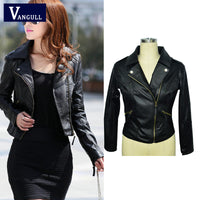 Short Fashion Leather Jacket Women Casual Coat Motorcycle jacket PU Leather