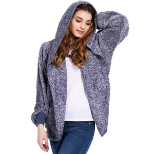 Oversized Fleece Warm Cardigan Women Two-Tone Poncho Capes Batwing Open Front
