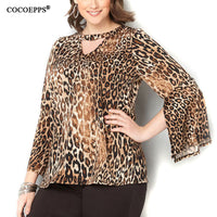 Summer Tops Plus Large Big Size Women Leopard Print Shirts Fashion V-Neck