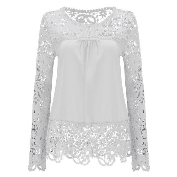 854ddec19803e Women s Long Sleeve Chiffon Lace Crochet Tops Blouses Women Clothing  Feminine Blouse 21 colors