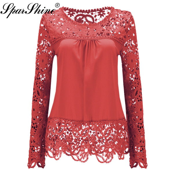 Womens Long Sleeve Chiffon Lace Crochet Tops Blouses Women Clothing