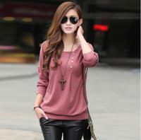 Women sweater pullover bottoming plus fertilizer increase sister-sleeved plus size knitted