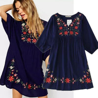 Ethnic Plus Size Flowers Embroidery Mini One-piece Dress