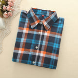 Flannel Plaid Shirt Woman Blusas Shirt Casual Long Sleeve Blouses