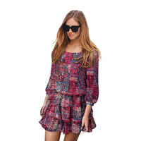 New Fashion Summer Women Chiffon Dress Bohemian Style Cascading Ruffle Mini Beach