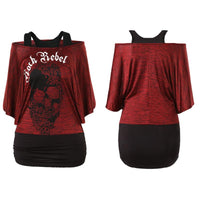 Skull Print Tee Shirts Women Rock Punk Style Off Shoulder Half Sleeve Loose T-Shirt Top S-XL