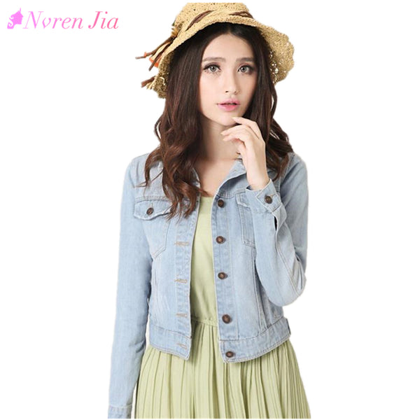 Denim Jacket Plus Size S-4XL Vintage Cropped Short Denim Coat Long-Sleeve Jeans Coat