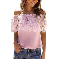 Europe America t-shirt Slash new neck lace stitching lace hot sexy