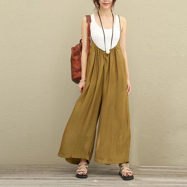 Women Overalls Wide Leg Pants Vocation Dungarees Casual Cotton Linen Jumpsuit