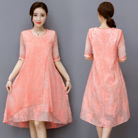 Summer women's clothing temperament embroidery silk dress loose O-Neck