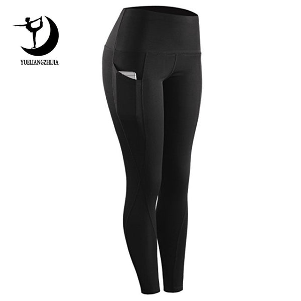High waist sports legging with pocket for women fashion new female workout stretch pants plus size Elastic fitness leggings