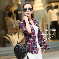 Cotton Velvet Thick Clothes Women Shirts Office Lady Winter Plaid Shirt