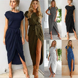 Women Casual Loose Dress Short Sleeve Lace Up Irregular Dress Party