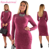 Dress Big Size Casual Long Sleeve Women Dress Bodycon Bandage Dress Plus Size Women Clothing Vestido