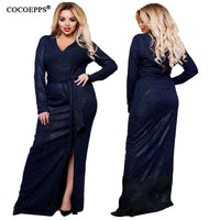 Long Dress Split Winter Shiny Evening Party Dresses Plus Size Elegant Dress Large Size Women Robe Clothing