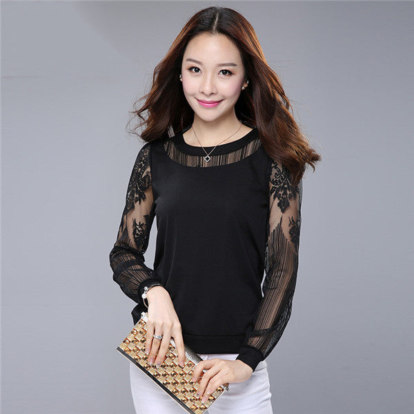 Lace Blouse Shirts Women  Plus Size Casual Chiffon Blouses Woman Clothing  Long Sleeve Ladies Top Bottoming Shirt 2017