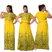 Summer Dress Yellow Pink Red Elegance Long Print Dress Women Robe Dresses Plus Size Women Clothing