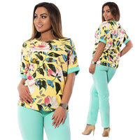 Plus Size Office Two-piece suit Print Casual Work Two-piece suit Women Clothing
