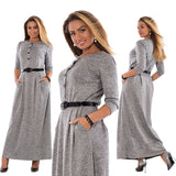 Robe 2017 Autumn Winter Dress Big Size Elegant Long Sleeve Maxi Dress Women Office Work Dresses Plus Size Women Clothing