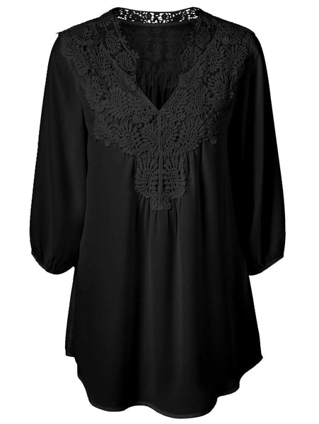 Plus Size Tops Women Chiffon Blouse Shirt Lace Up Tunic