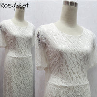 Women Lace Dress Summer Maxi Dress Vintage White Black Lace Dresses Elegant