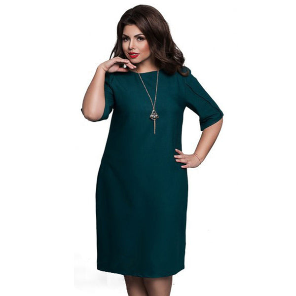 Summer Dress Big Size Casual Office Dress Blue Red Green Straight Dresses Plus Size Women Clothing Vestidos