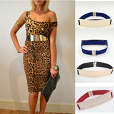 6cm Sheet Metal  Sexy Women Elastic Mirror Metal Waist Belt Leather