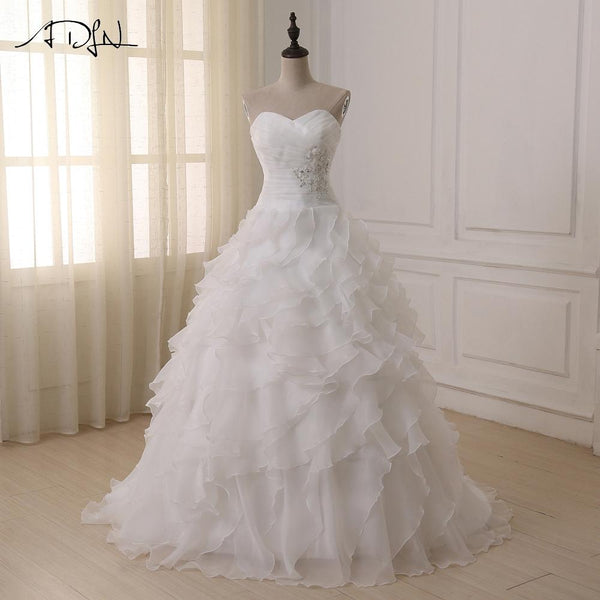 A-line Wedding Dress 2018 White/ Ivory Corset Boho Plus Size Wedding Dresses
