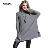 ARCSINX Turtleneck Sweater Women Solid Color Oversized Poncho Women Grey Long Sleeve Female Pullover