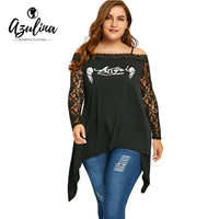 AZULINA Plus Size Ladies Tops Sexy Lace Trim Wings Print T-shirts Women T shirts Casual Spaghetti Strap
