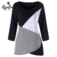 AZULINA Plus Size O Neck Patchwork Top 2018 Spring T-Shirt Casual T-Shirts