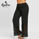 High Waist Wide Leg Pants Lace Trim Casual Ladies Pants
