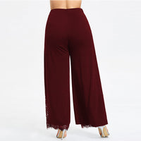 Wide Leg Pants Casual Loose High Slit Lace Palazzo Pants Trousers