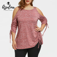 AZULINA T Shirt Women Shirred Cold Shoulder T-Shirt New Fashions Casual O Neck 3/4 Sleeves Ladies Tops Plus Size Women Clothing