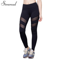 Athleisure harajuku leggings for women mesh splice fitness slim black legging pants leggins