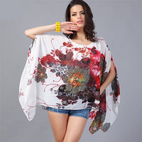 Boho Style Batwing Summer Chiffon Top Women's Casual Beach Wear