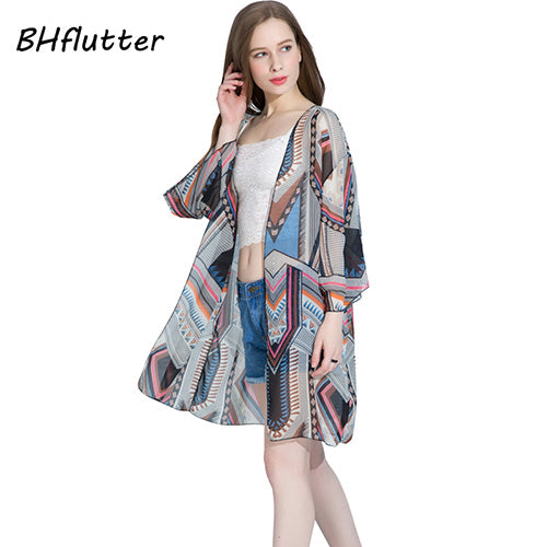 BHflutter 4XL Plus Size Women Clothing Boho Style 2017 Summer Blouses Half Sleeve Casual Chiffon Tops Women Beach Cover-ups
