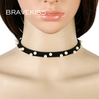 BRAVEKISS New Charm Skull Star Black White Stripes Punk Pearl Choker Necklace Women Clothing Accessories Collier Femme BPN0808